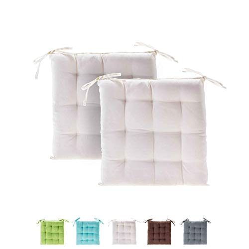 etérea Basic Sitzkissen, Stuhlkissen mit Bändern - für Innen- und Außenbereich geeignet, Sitzpolster Auflage für Haus und Garten - 2er Set - 40x40 cm, Creme