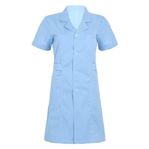 iiniim Damen Kittel Medizin Arztkittel Krankenschwester Kostüm Uniform Kleid Laborkittel Mantel Berufsbekleidung S-XXL Himmel Blau S