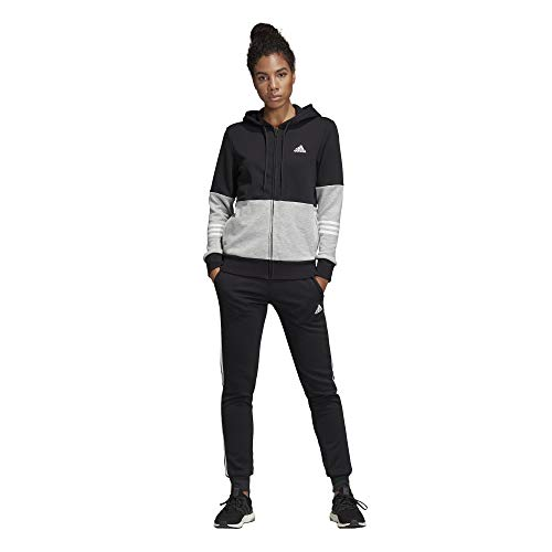 adidas Damen Cotton Energize Trainingsanzug, Black/Medium Grey Heather/White, XL -