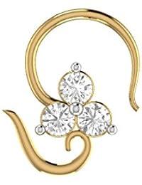 Silvernshine 14K Yellow Gold Fn Diamond Flower Engagement Wedding Nose Piercing Ring Stud Pin