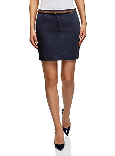 oodji Ultra Damen Kurzer Baumwoll-Rock mit Gürtel, Blau, DE 40 / EU 42 / L (Größe 16 Kurze Damen Jeans)