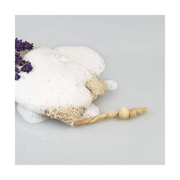 BlueFox 2 x Bolsas de Jabón de Sisal, Bio Jabonera de Fibra Natural, Exfoliante Natural para Cuerpo y Cara, Bolsa para restos de jabón, Jabón para el Cabello Sostenible, Vegano Manopla Color: Natural