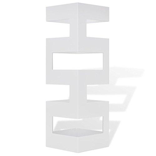 Portaombrelli porta ombrelli 48,5 cm bianco in ferro quadro con gancini e vaschetta scolapioggia zeus antracite base tortoraarredo e decorazioni casa