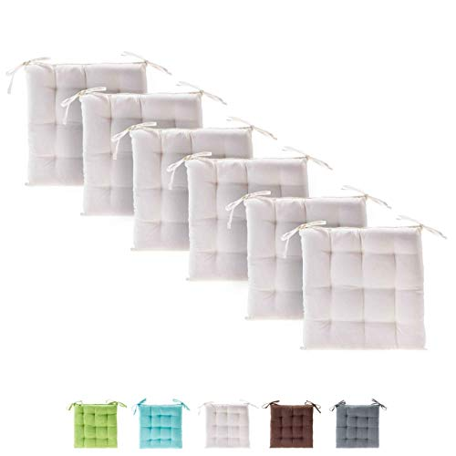 Etérea Basic Sitzkissen für Innen- und Außenbereich 40x40 cm Creme 6er Set