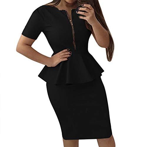 BHYDRY Mode Lässig Womens Kurzarm Reißverschluss Rüschen Solide Oansatz, Figurbetontes Kleid(Large,Schwarz)