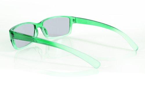 SJ3D Passive 3D Brille für Kinder – Grün / Transparent - Polfilterbrille zirkular polarisiert - Für RealD 3D Kino & TV: LG Cinema 3D Philips Easy 3D Telefunken Toshiba 3D Natural Vizio 3D und 3DTVs von SONY Grundig Panasonic Hisense CMX uvm. - Inkl. Mikrofaser Brillenbeutel und Putztuch