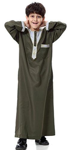 Chor Anzug (Auspicious beginning Mittlerer Osten Arabischer Jungen Langarm Thobe Muslim Islamischer Gestickter Entwurf Kutra Anzug)