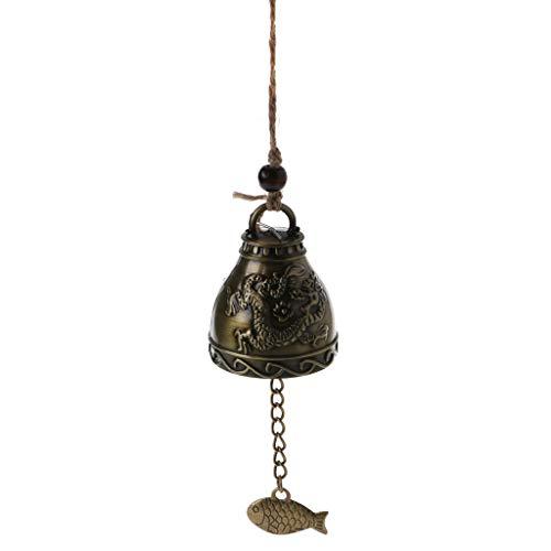 Exing Bouddha Statue Cloche De Dragon Carillons éoliens en métal créatif Bénédiction Carillon éolien Décoration de Maison accrochée Décor de Voiture Suspendu (Boule de Dragon)