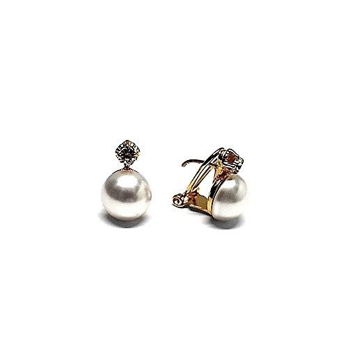 Orecchini in argento placcato Act 925m oro perla 10 millimetri giapponese. (10 Millimetri Sintetico Perle)