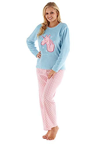 Damen voll Fleece Winter Pyjama Set ~ Einhorn, Eule, Sweet Dreams - Einhorn Dreams, L