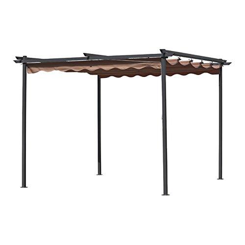Pergola mt.3x3 gazebo acciaio con telo retrattile scorrevole giardino