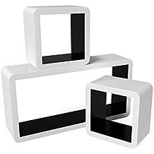 Songmics LWS92B Set di 3 Mensole a Cubo da Parete
