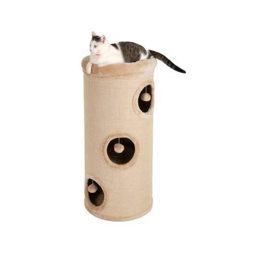 El barril de arañazos Diogenos XL es ideal para que tu gato juegue y afile sus garras. El exterior está completamente cubierto con sisal natural de alta calidad, robusto y está disponible en color beige o negro. Las tres entradas redondas tienen un b...