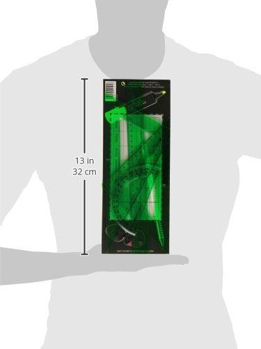 Faber Castell 65021 – Pack escolar con escuadra, cartabón, regla y semicírculo, color verde