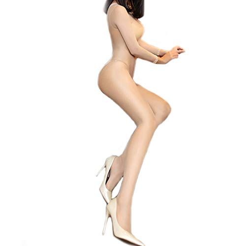 ❤️Women's Sexy Flash long-sleeved slit 30D Lingerie Bodystocking Seamless Sheer Crotchless Body Tights (Beige) - Lingerie Crotchless Strumpfhose