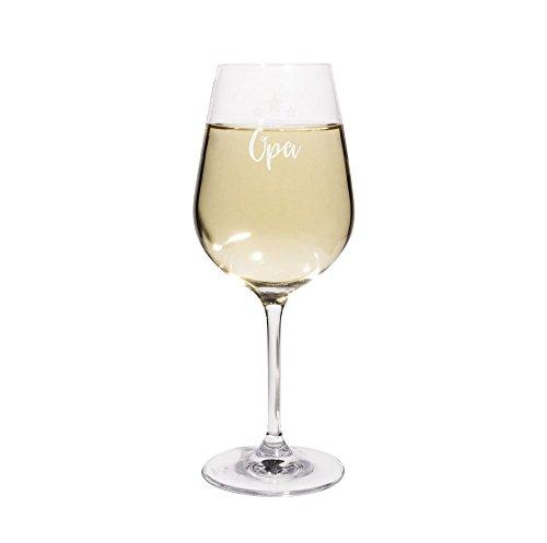 PrintPlanet Weißweinglas mit Namen Opa graviert - Leonardo Weinglas mit Gravur - Design Sterne
