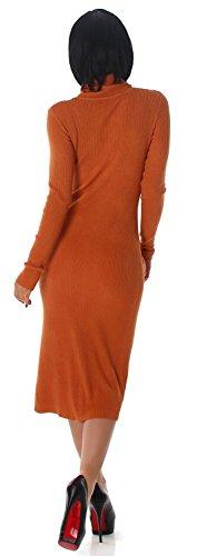 Jela London - Robe - Crayon - Uni - Manches Longues - Femme Ocre