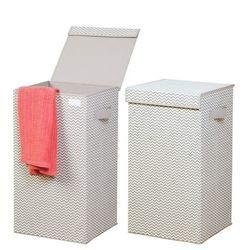mDesign Cubo de ropa para lavado gris claro - Cesto plegable para colada - Cesta para ropa sucia con tapa - Ideal como bolsa para guardar ropa durante viajes - Portátil, con asas - Plástico - Paquete de 2