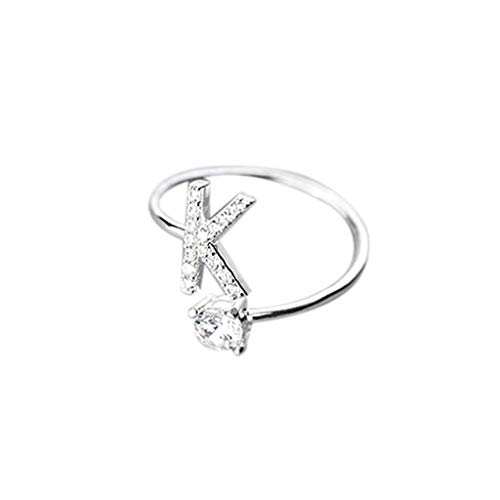 UINGKID Schmuck Damen Ring Modische und einfache Öffnung 26 Buchstaben mit Diamant Ring Damen - Zinn Girl Kostüm