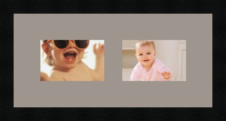 Cadres photos pêle mêle multivues 2 photo(s) 15x10 Passe Partout, Cadre photo mural 43x20 cm Noir, 3 cm de largeur