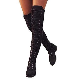 7145fc03d68a52 Stiefel Damen Overknee Stiefel Flach Winter Flachen Wildleder Schnüren  Plateau High Boots Winterschuhe Bequeme Casual Elegante. Like Compare.  Details