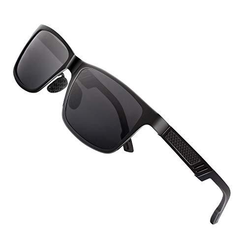 GQUEEN Occhiali da Sole Uomo Retro Montatura Al-Mg Polarizzati Protezione UV400 MS0