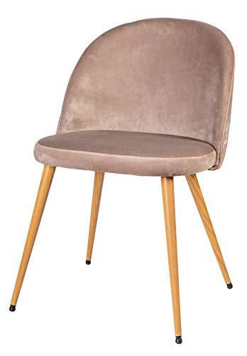 Enrico coveri contemporary sedia con morbido cuscino in velluto e struttura in metallo, poltrona in tessuto perfetta per sala da pranzo, salone e cucina (beige)