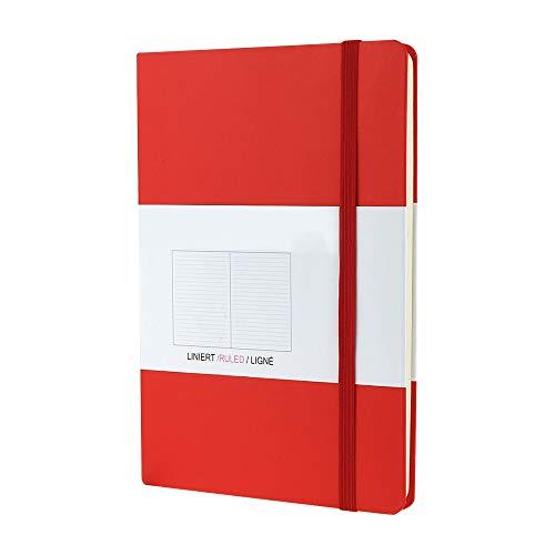 VEESUN A5 Libreta Bonitas Cuaderno Vintage Diario de Viaje Bloc de Notas Notebook Bullet Journal Agenda con cierre elástico, marcador, 192 páginas alineadas, Rojo