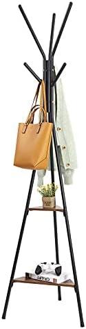 Wisfor Garment Coat Rack Freestanding, Metal Coat Hanger Stand Industrial Hall Tree with 2 Shelves and 6 Hooks