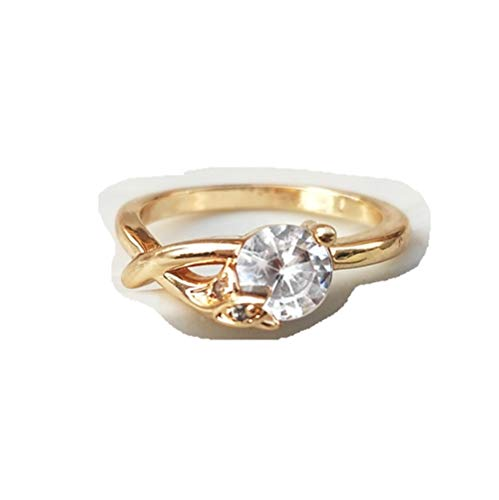 HDCooL Golden Color Fashion Bridal Jewelry Round Zircon Ring Marriage for Women 7#