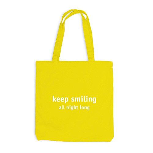 Jutebeutel - Keep Smiling - All Night Long - Fun Style Festival Gelb