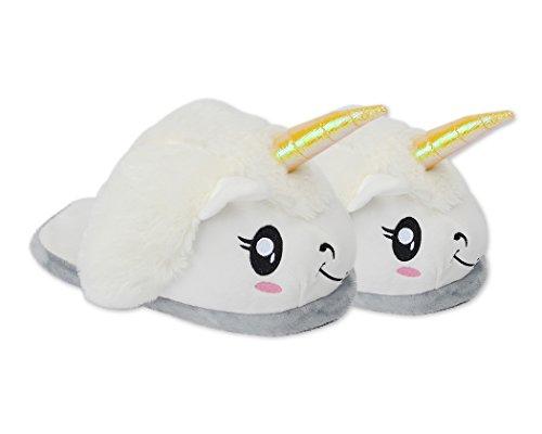 DSstyles-Lindo-Unicornio-Zapatillas-de-Felpa-Unicornio-Zapatos-Zapatillas-de-Casa-de-Novedad-Blanco