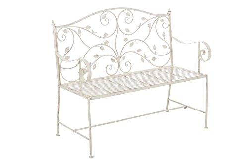 SIKALO Garten-Möbel im Landhausstil; Nostalgie Design Sitzbank in Antik-cremefarben - Zweisitzer Metall-Gartenbank / Parkbank für den Außenbereich