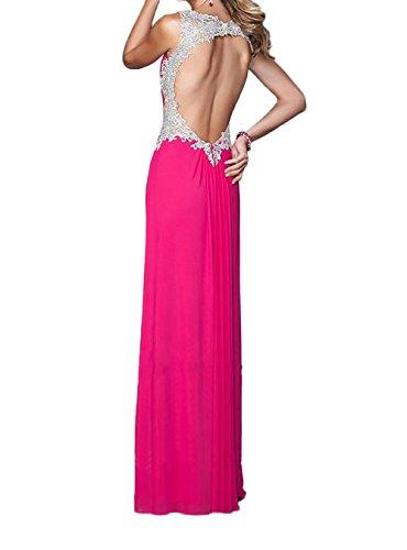 La_Marie Braut Grau Chiffon V-ausschnitt Brautjungfernkleider Brautmutterkleider Abendkleider Lang Pink