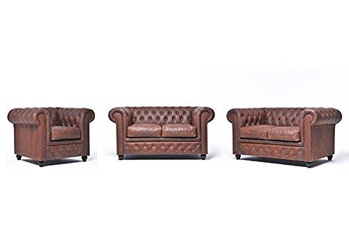 Original Chesterfield Sofas und Sessel – 1 / 2 / 2 Sitzer – Vollständig Handgewaschenes Leder – Vintage Braun