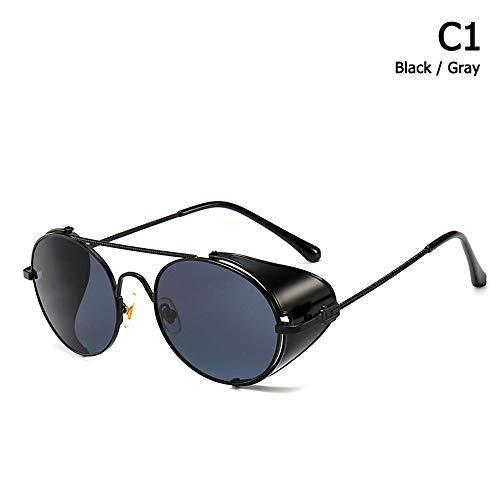 ZHOUYF Sonnenbrille Fahrerbrille Mode Vintage Steampunk Punk Stil Runde Sonnenbrille Metall Seitenschild Coole Marke Design Sonnenbrille Oculos De Sol, A