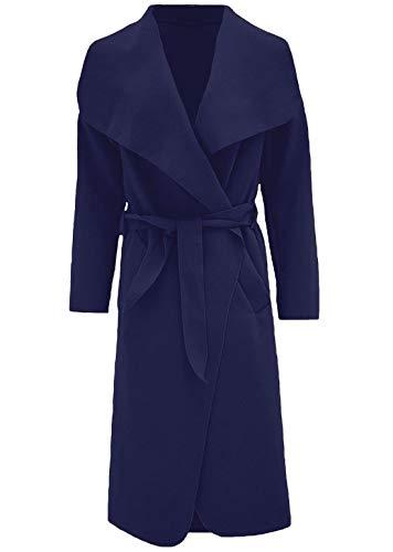 Islander Fashions Damen Trenchcoat Waterfall Italian Duster Coat Damen French Belted Long Jacket Marineblau 2X Large