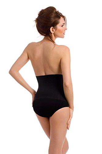 Envie® Damen-Shaping-Slip figurformend und hochtailliert für einen flachen Bauch, Taille und Po, ohne Seitennähte - (Made In Italy) Nero