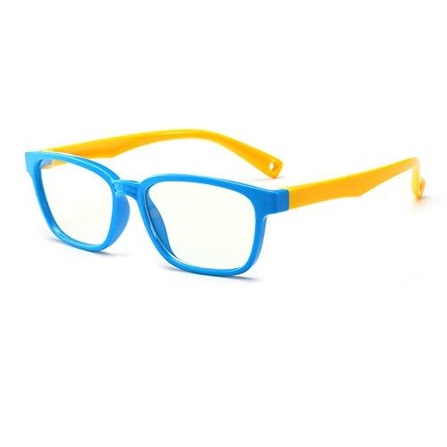 Hibote Mädchen Jungen Anti Blaulicht Brillen - Silikon - Klare Linse Gläser Rahmen Geek/Nerd Brillen mit Auto Form Brillenetui - 18083007