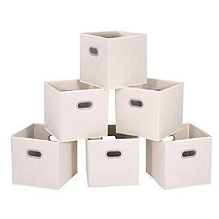 MaidMAX Cubes de Rangement en Tissu, Lot de 6 Boîtes/Tiroirs en Tissu Cube de Rangement Pliable Organiseurs Conteneurs pour l'organisation de Linge, Jouets, Vêtement,Beige,30.5 x 30.5 x 30.5(cm)
