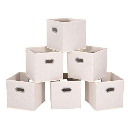 MaidMAX Aufbewahrungsbox aus Stoff im 6er-Set, Aufbewahrungskorb ohne Deckel, Ordnungssystem Stauraum Boxen, Flexible Aufbewahrungskiste für Regal Schrank oder Schublade - Beige ... -