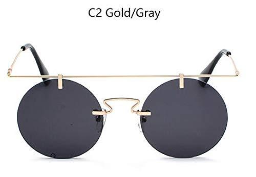 NNGETUI Retro Steampunk Rot Runde Sonnenbrille Randlose Designer Frauen Gold Metall KreisSonnenbrilleMänner Vintage Brillen Uv400