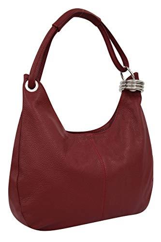 AmbraModa Damen Leder Handtasche Schultertasche Henkeltasche Beutel Hobo bag GL03 (Dunkelrot) - Leder Hobo Handtasche