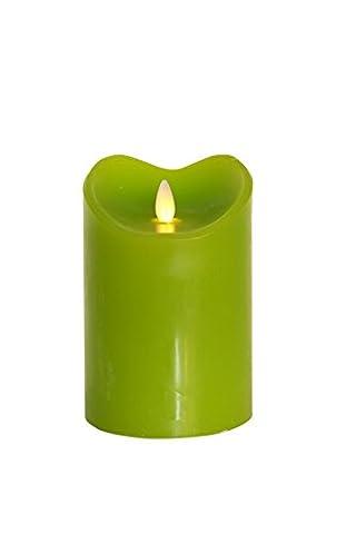 Tronje 14cm Grün LED Echtwachskerze im Stumpen Design LED Kerze Timerfunktion Echtes Wachs Durchmesser 9,5 cm Kerzenlichtsimulation bewegter Docht