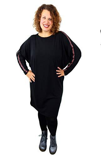 Ella Jonte Kleid schwarz mit Glitzerstreifen 42-44 Größe M - L Made in Italy