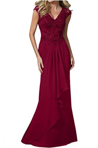Promgirl House Damen Besser Chiffon Mermaid Abendkleider Ballkleider Brautmutterkleider Lang Spitze Rot