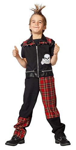 Karneval-Klamotten Punker Kostüm Kinder Jungen Jungs Komplett-Kostüm Größe ()