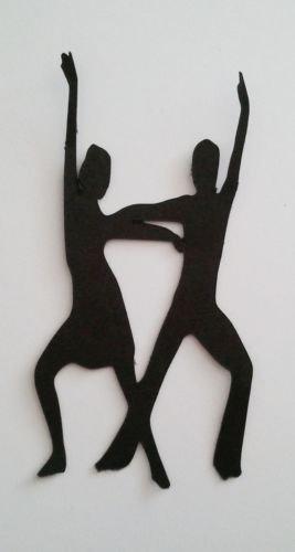 5x Tänzer Man Lady Dancing Silhouette sterben Schnitte Formen Schwarz Karte (Silhouette Dancing)