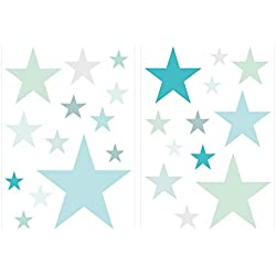 Wandtattoo Kinderzimmer Wandsticker Set Pastell Sterne in tollen Blau und Grün