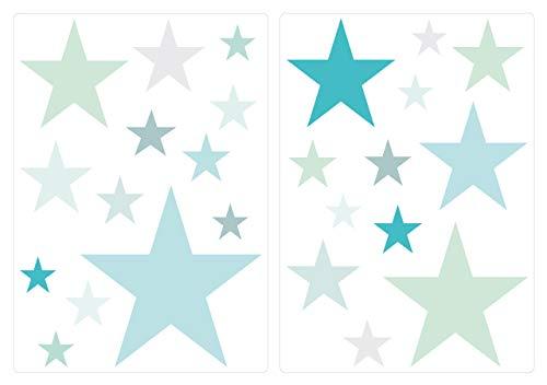 """I-love-Wandtattoo WAS-10454 Kinderzimmer Wandsticker Set """"Pastell Sterne in tollen Blau und Grün Farbtönen"""" 25 Stück Sternenhimmel zum Kleben Wandtattoo"""